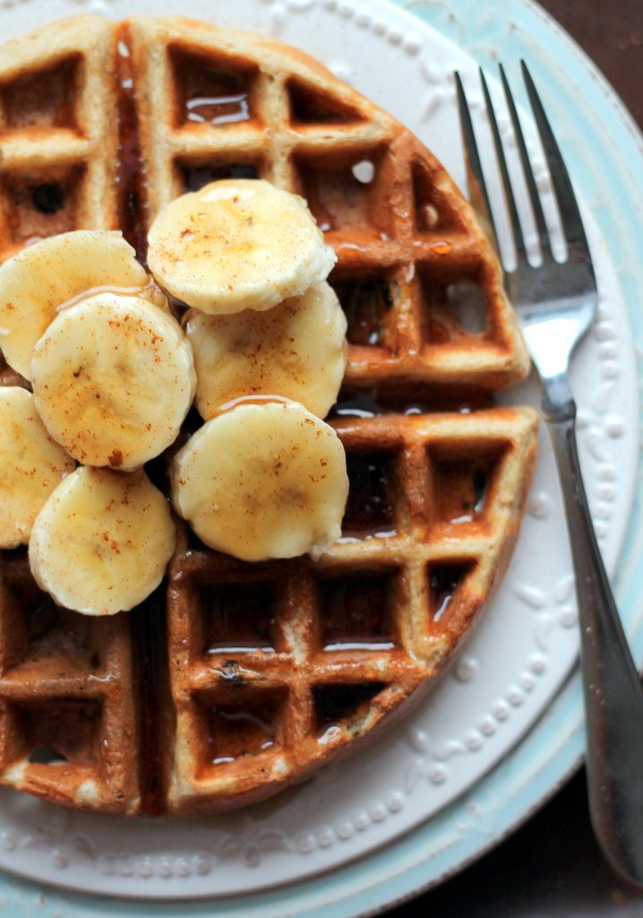 ... bananas and a little creamy peanut butter so it melted into the waffle