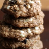 Macadamia nut oatmeal cookies in a stack