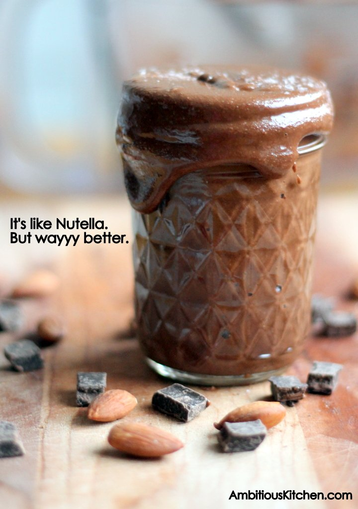 Dark chocolate almond butter in a jar with text overlay