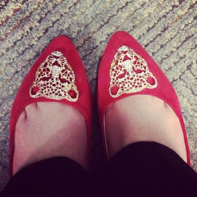 Red pointed shoes with lion medallions