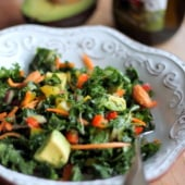 Kale rainbow detox salad in a bowl