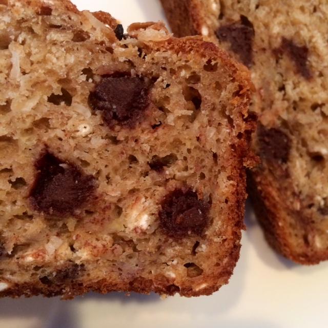 Healthy chocolate chip coconut oatmeal banana bread