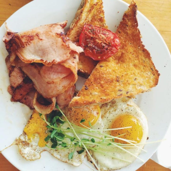 Eggs, ham and toast on a plate