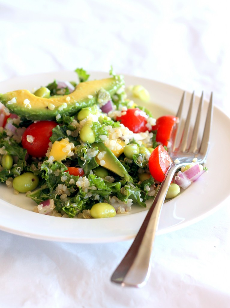 Kale, edamame, tomato, and avocado salad