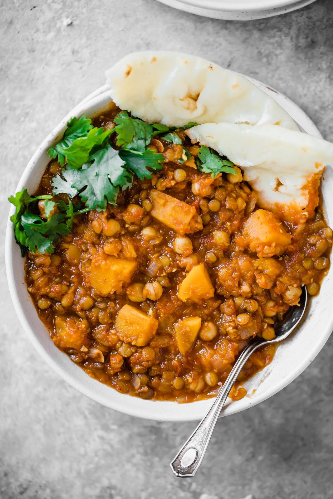 A healthy lentil moroccan stew made with chickpeas, butternut squash, and lentils. You'll love this filling vegetarian meal.