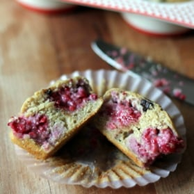 Raspberry chocolate chip cream cheese muffins