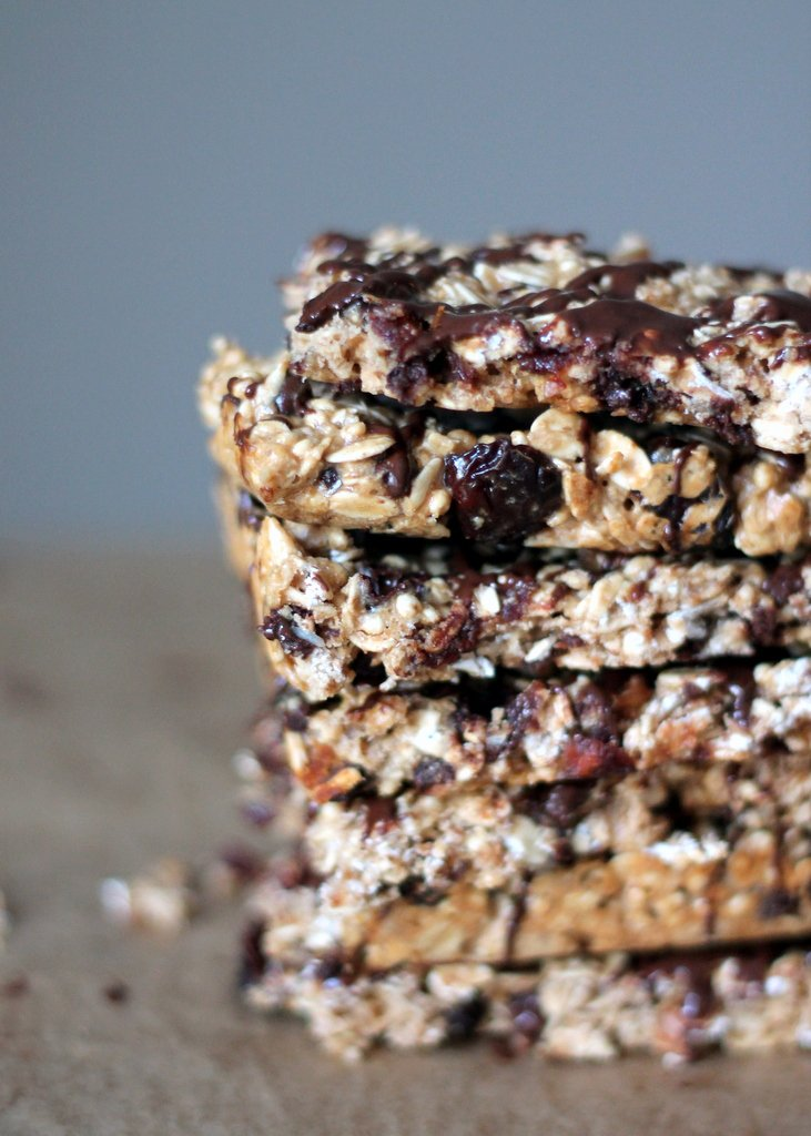 Chewy Dark Chocolate Cherry Protein Granola Bars with Chia Seeds