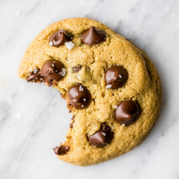 gluten free chocolate chip cookie with a bite taken out