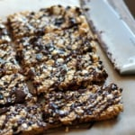 granola bars drizzled with chocolate
