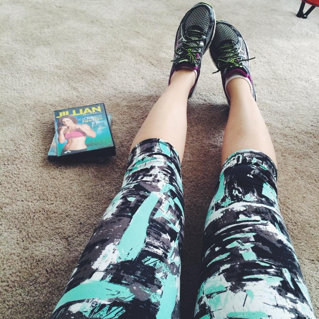 Leggings next to Jillian Michaels DVD