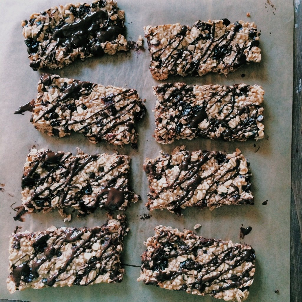Homemade Protein Bars on a baking sheet