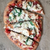 otisserie Chicken Naan Pizza with Spinach, Queso Fresco, & Fire-Roasted Tomato-Mango Chutney Sauce