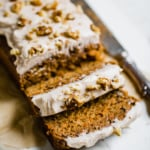 Healthier Carrot Cake Banana Bread with Cinnamon Cream Cheese Frosting