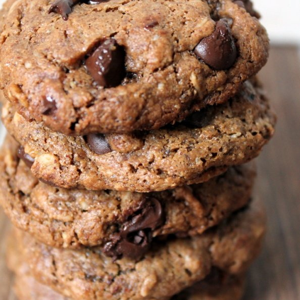 Chewy Toasted Pecan Butter Oatmeal Chocolate Chip Cookies in a stack