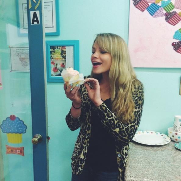 Monique with a cupcake