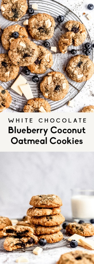 collage of white chocolate blueberry coconut oatmeal cookies