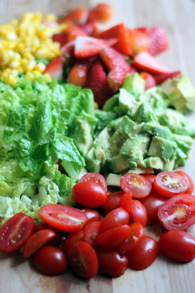 Summer Chicken Chopped Salad with Strawberries, Avocado + Feta