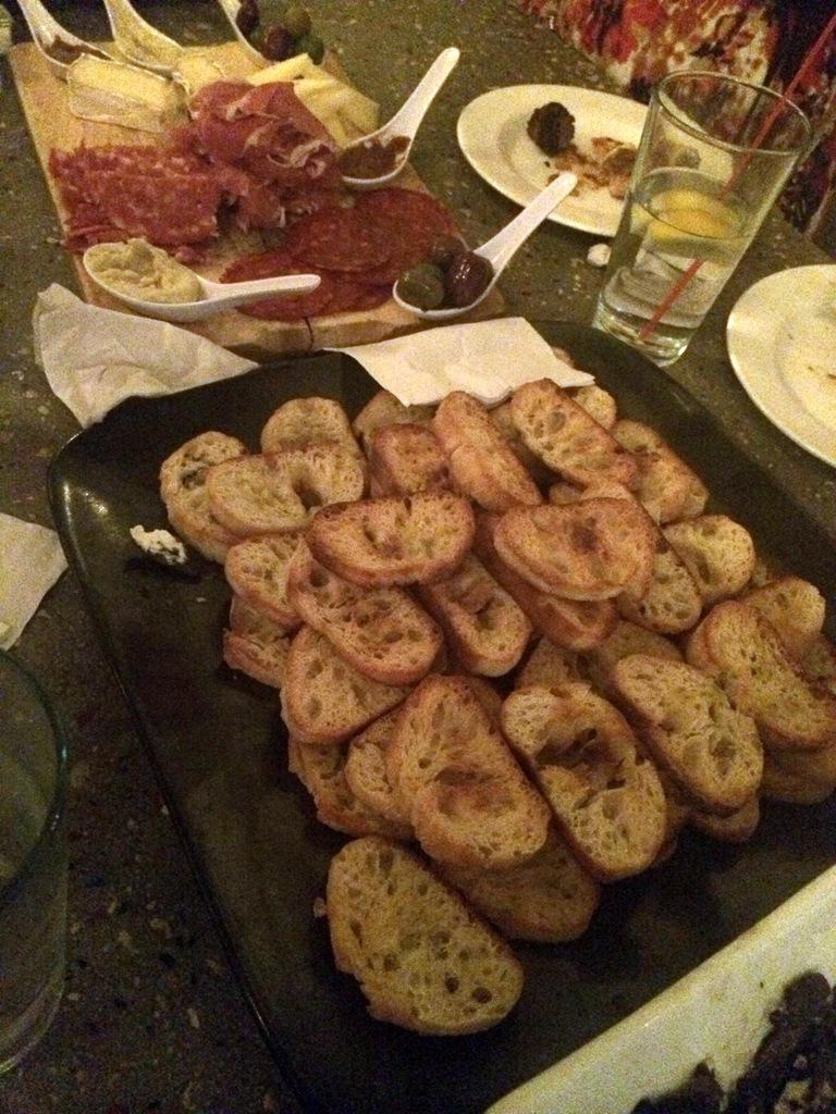 crostini on a platter