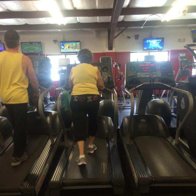 Monique's Grandma on a treadmill