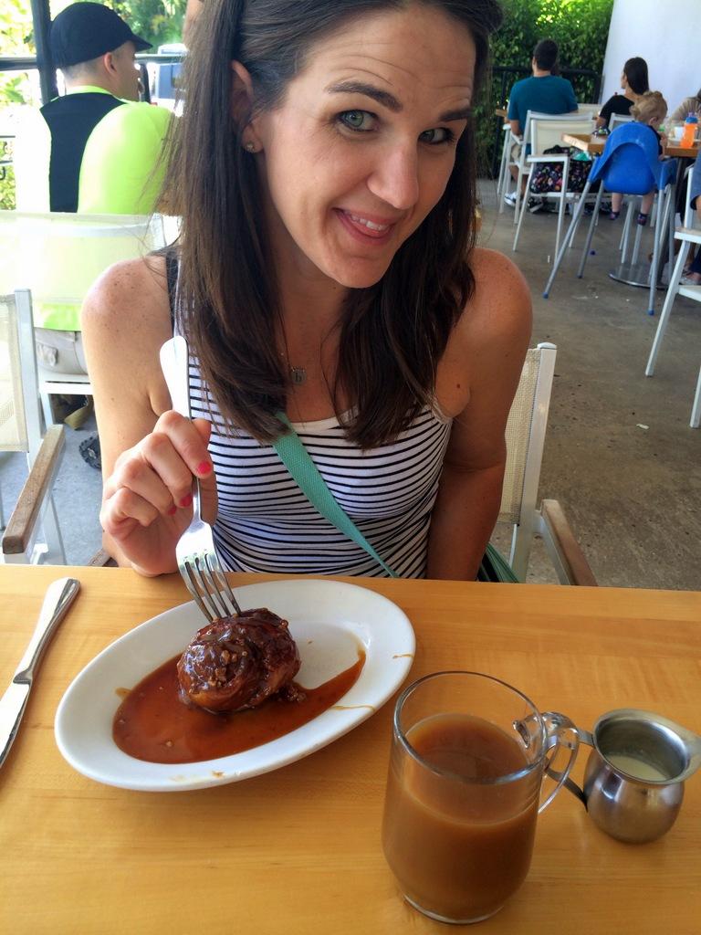 girl eating a meatball