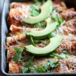Spicy Butternut Squash Black Bean Enchiladas with Chipotle Greek Yogurt Sauce