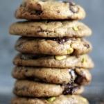 Pistachio, Coffee & Brown Butter Chocolate Chunk Cookies