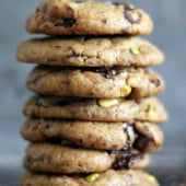 Pistachio, Coffee and Brown Butter Chocolate Chunk Cookies