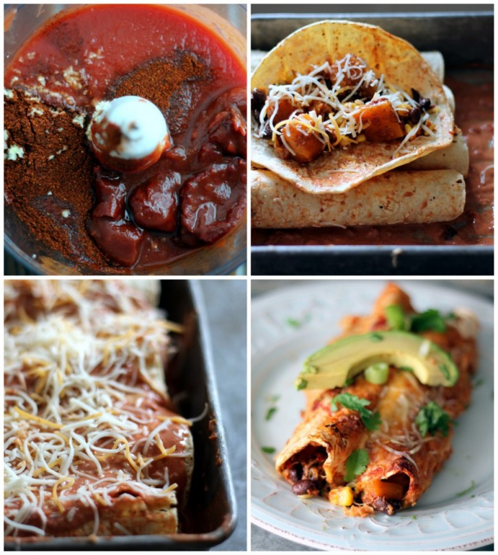 Butternut Squash Black Bean Enchiladas with Chipotle Greek Yogurt