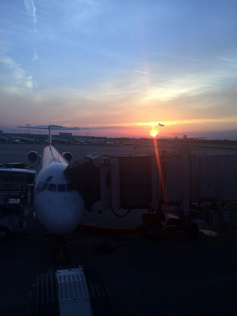 sunset at an airport