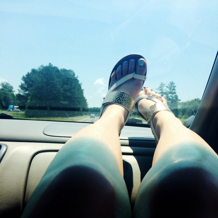 legs on the dashboard