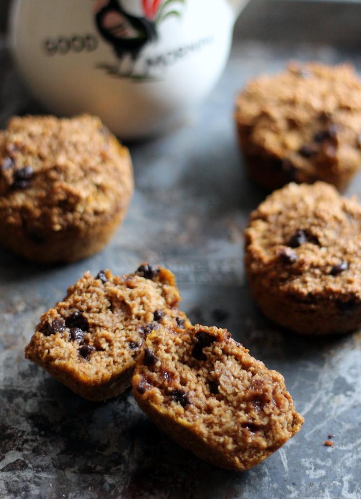 Pumpkin Chocolate Chip Oat Protein Muffins in half
