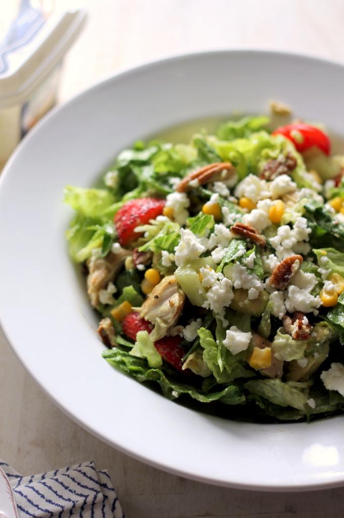 Summer Chicken Chopped Salad with Strawberries, Avocado + Feta