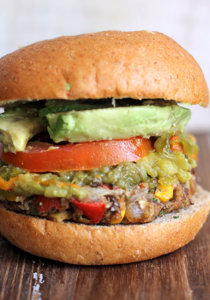 Black bean burger with avocado and tomato