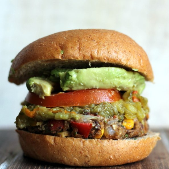 Black bean burger with avocado and tomato