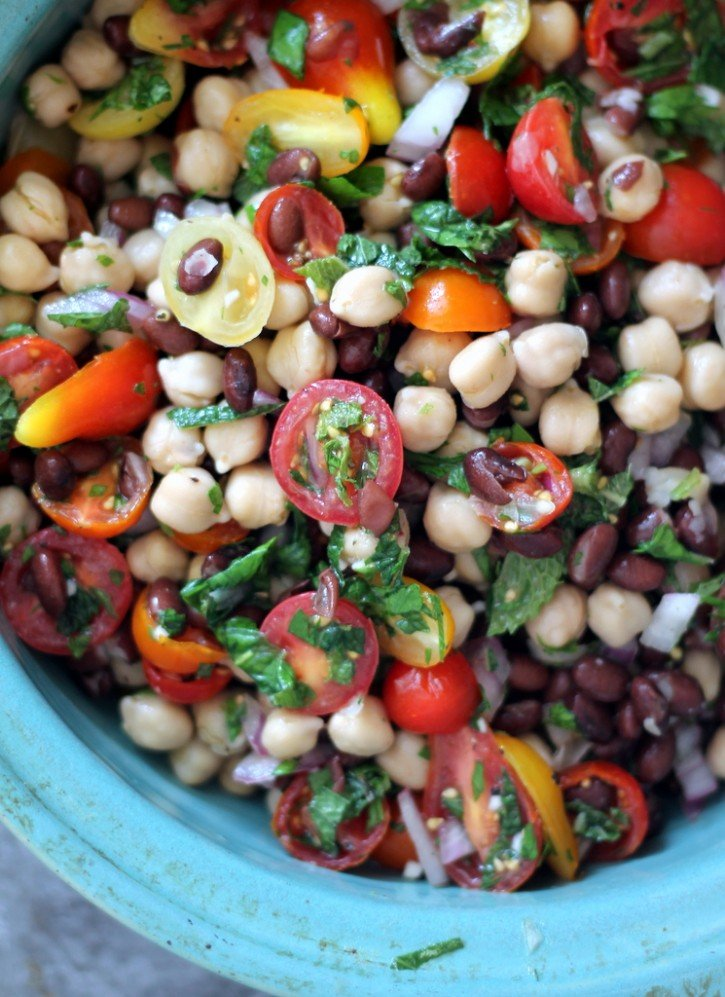 Middle Eastern Chickpea Amp Black Bean Salad Ambitious Kitchen