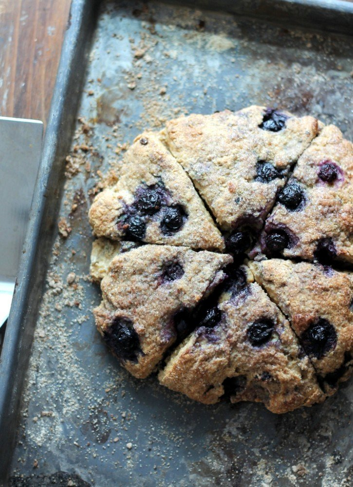 healthy scones with blueberries on a baking sheet