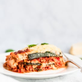 slice of low carb zucchini lasagna on a plate