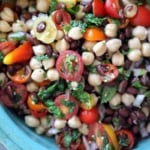 bean salad in a blue bowl