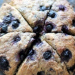 blueberry scones cut in triangles