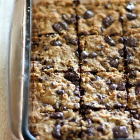 Coconut oatmeal bars in a glass baking pan