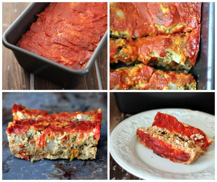 four paneled photos of vegetarian lentil loaf