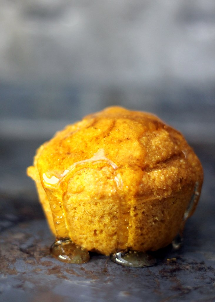 honey pumpkin muffin with honey on top
