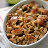 An amazing lightened up french toast casserole with apples and salted caramel! YUM!