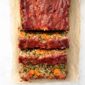 vegetarian lentil loaf on parchment paper