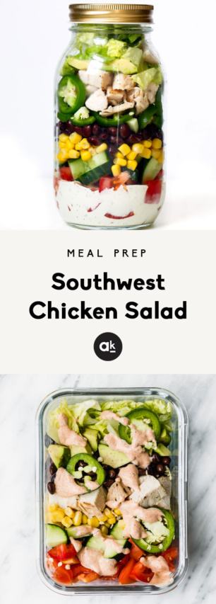 collage of southwest chicken salad