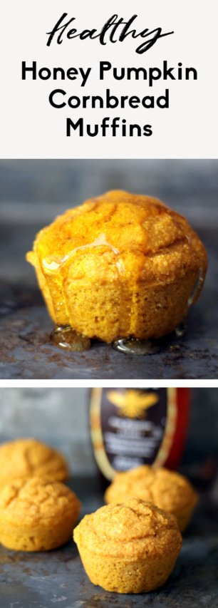 collage of pumpkin cornbread muffins