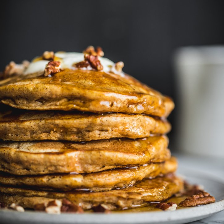 Delicious, fluffy and healthy chai-spiced sweet potato pancakes perfect for using up leftover sweet potato!