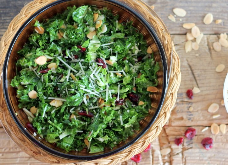 Kale and brussels sprout salad in a bowl