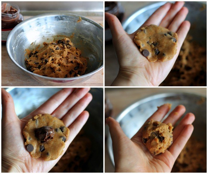 Collage of photos making nutella-stuffed pumpkin chocolate chip cookies into dough balls