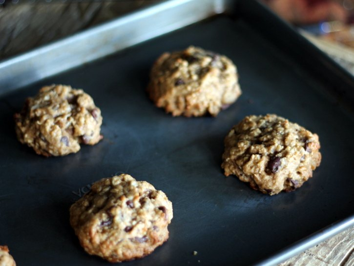 Banana Oatmeal Chocolate Chip Cookies that taste like banana bread - plus they're made with coconut oil!
